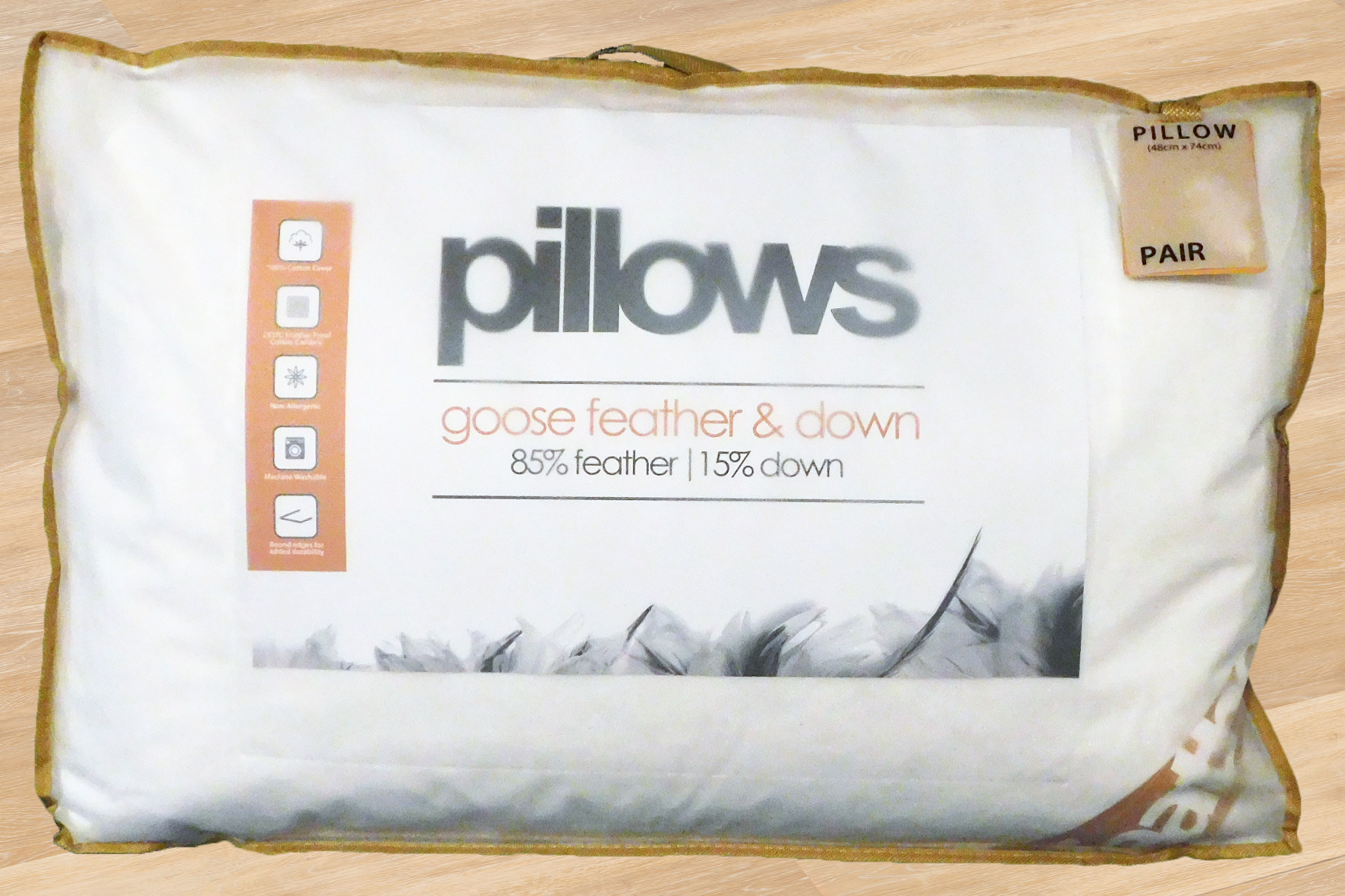 "2 x 15/"" X 15/"" Extra Filled Duck Feather Cushions Cotton Soft"